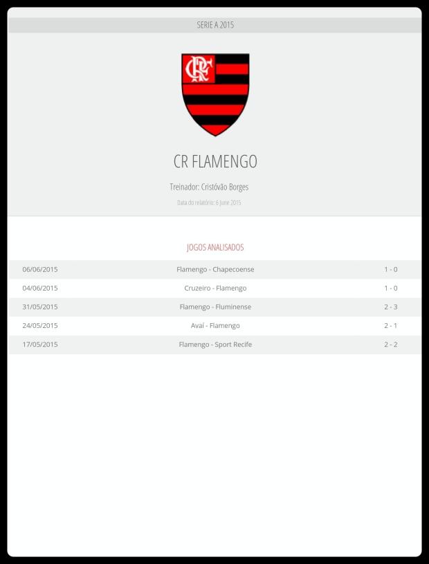 Flamengo - Jogos Analisados 13-06