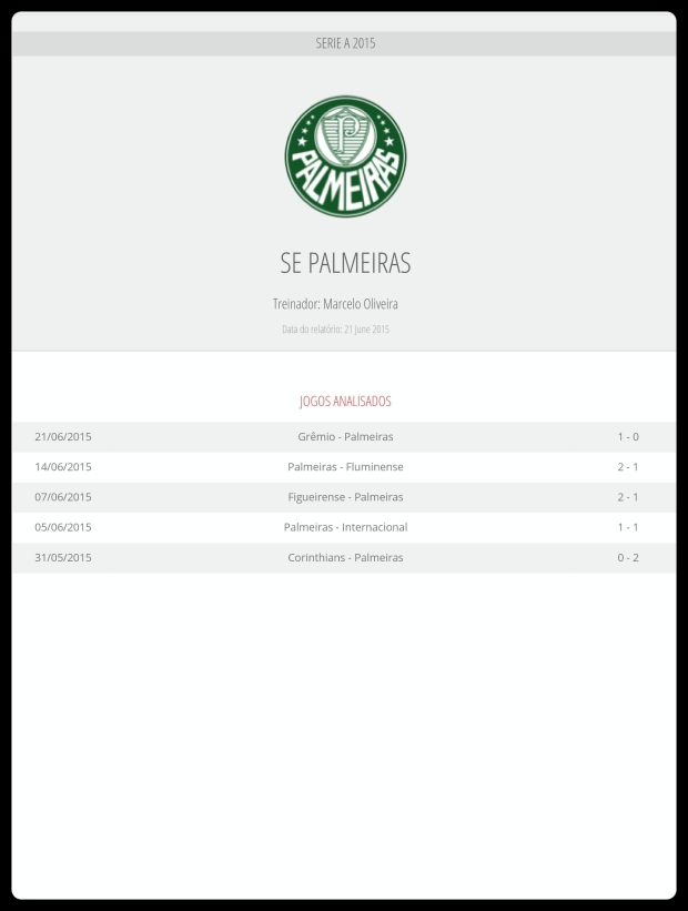 Palmeiras - Jogos Analisados 26-06