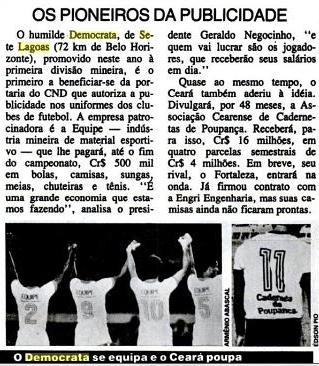 Placar maio 1982 - patrocinio equipe DFC