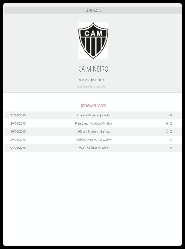 Atlético MG - Jogos Analisados 04-07