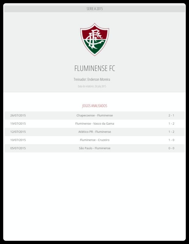 Fluminense - Jogos Analisados 31-07
